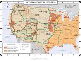 Migration Map Atlas Map Western Migration 1850 1880