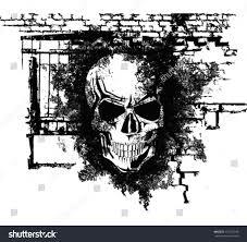 vector scary halloween grunge skull bricks stock vector 115275358