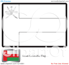 clipart of a coloring page and sample for an oman flag royalty