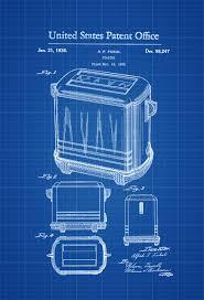 toaster patent print kitchen decor restaurant decor vintage