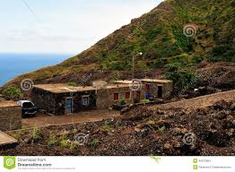 homes by the road and sea in fogo cabo verde stock photo image