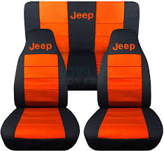 jeep wrangler black and orange jeep logo seat covers jeep