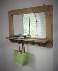 handmade mirror with shelf in solid natural wood by
