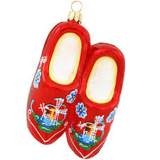wooden shoes glass ornament ethnic pride