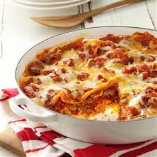 Lasagna Recipe Cottage Cheese by One Skillet Lasagna Recipe Taste Of Home