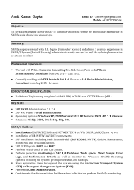 Sap Mm Resume Sap Basis Administrator Consultant Sap One Year Of Experience In Sa U2026