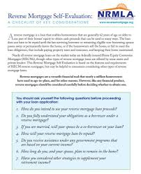 reverse mortgage self evaluation a checklist of key considerations