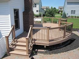 timbertech twin finish cedar color deck with curved timbertech