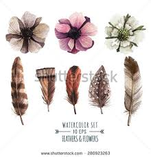 feather flower vector set flowers feathers watercolor style stock vector