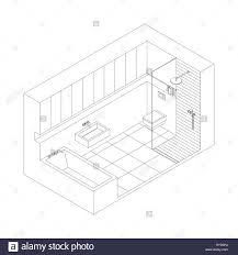 line drawing of the interior of bathroom isometric view stock