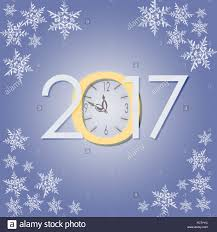 2017 new year with clock and snowflakes creative illustration on