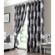 Grey Curtains 90 X 90 X 90 Charcoal Grey 100 Cotton Floral Ring Top Fully Lined Curtains