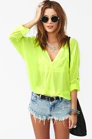 neon blouse lyst gal neon wrap blouse yellow in yellow