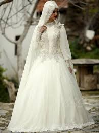 wedding dress muslim luxurious beading lantern sleeves gown muslim wedding dress