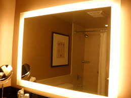 Bathroom Mirror With Lights Built In Bathroom Rectangular Wall Mirror Decor With Lighted Frame As Well