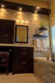 stone wall bathroom mirror storage design wooden cabinets light