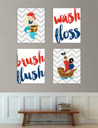 sale kids bathroom art wash brush floss flush pirate