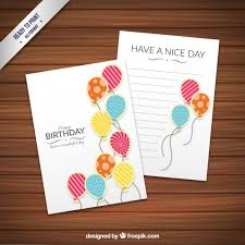 birthday card template with fancy balloons vector free download