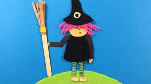 a young witch made from felt paper wool simple craft ideas for