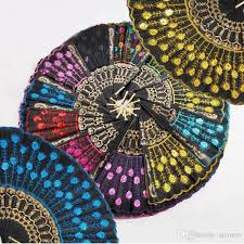 plastic fans 2018 new style plastic fans embroidered sequins folding