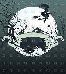 halloween frame with flying witch on broom on full moon background