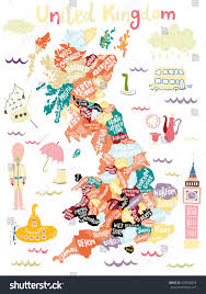 Devon England Map by Map United Kingdom Counties Lands Decorative Stock Vector