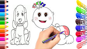 baby and dog coloring page learn colors for children youtube