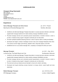 Massage Therapy Resume Samples by Greg Ozarowski Resume Letter U0026 Cv