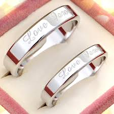 promise ring sets for him and forever engraved flat wedding band for women or men