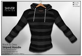 second life marketplace shiver sweater hoodie striped black