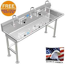 restaurant hand washing sink ada hand wash sink 3 station 84 electronic faucet free standing