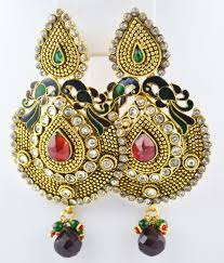 peacock design earrings indian jewelry store swasam polki earring peacock design