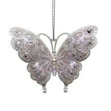 White Butterfly Christmas Tree Decorations by Jaclyn Smith Glimmer And Glisten Jeweled Butterfly Christmas