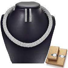 silver rhinestone necklace images Tengzhen silver rhinestone choker necklace and jpg