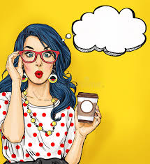 pop art with coffee cup in glasses with thought bubble party
