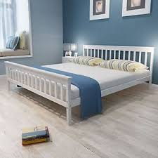 Bedroom Furniture King Size Bed King Size White Bed Frame Classic Pine Wood Sturdy Slats