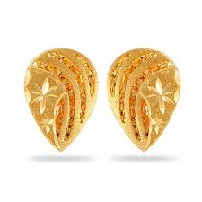 gold earings buy joyalukkas zenina collection 22k yellow gold earrings online