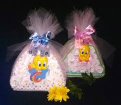 our large stork looney tunes diaper cake bundle baby shower