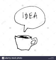 speech bubble hand drawn coffee cup symbol with idea word in speech bubble hand drawn