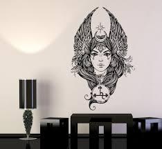 beautiful girl fallen angel woman wings symbols wall decal vinyl beautiful girl fallen angel woman wings symbols wall decal vinyl sticker ed451