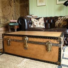 vintage retro steamer travel trunk 50s industrial chest coffee