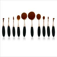 10 pieces lot toothbrush type makeup brushes good quality with anti break rose gold