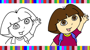 dora coloring pages dora colouring book colors videos for kids