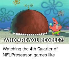 Who Are You People Meme - who are you people watching the 4th quarter of nflpreseason games