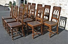 Gothic Dining Room Furniture 12 Matching Gothic Dining Chairs U2013 Hand Carved Oak Olde Chicago