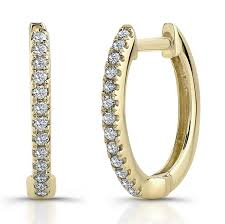 gold diamond hoop earrings yellow gold diamond hoop earrings