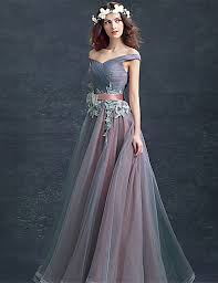 evening gown gown shoulder floor length tulle lace prom formal