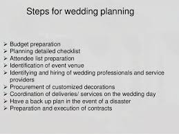 preparation of event plan for wedding wedding planning