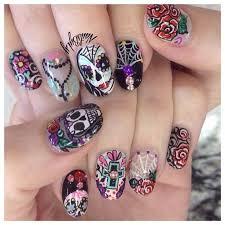 best 10 sugar skull nails ideas on pinterest skull nail designs