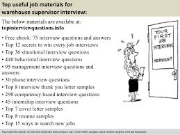 Warehouse Supervisor Resume Sample by Warehouse Supervisor Interview Questions